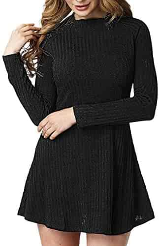 779f830e42f6 GIFC Women Autumn Cotton Solid Color Stripe Round Neck Long Sleeve  Elasticity Tops Blouses Dress Skirt