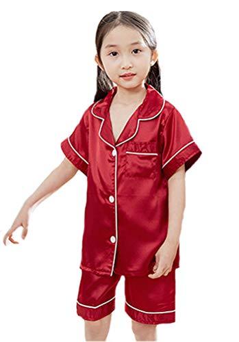 Horcute Pajamas Little Kid Sleepwears Set Pjs Clothes Short Sleeve Red 120# 4-5Y