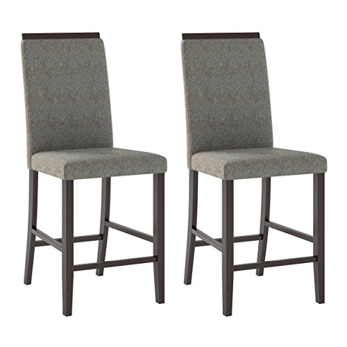 (CORLIVING DPP-190-C Dining Chairs, Pewter Grey)