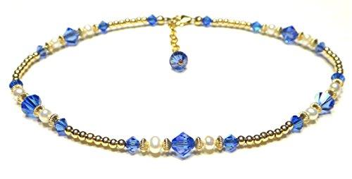(DAMALI Gold-Filled Ankle Bracelets Blue Sapphire Swarovski Crystals Beaded September Birthstone Jewelry)