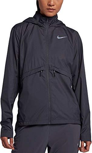 NIKE Women's Essential Hooded Running Jacket (Gridiron, Large) -