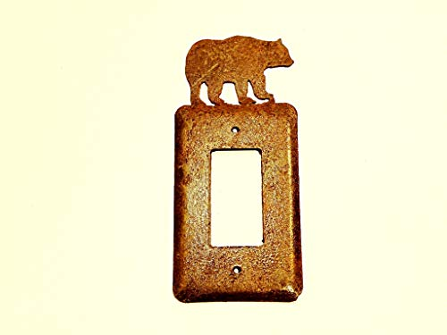 Bear Electric Single Rocker Metal Rusted Rustic Wall Plate Cover approx 3 1/4