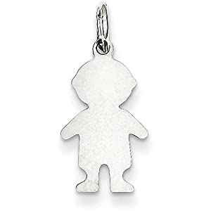 Jewel Tie Sterling Silver Engraveable Boy Polished Front Satin Back Disc Charm (0.67 in x 0.39 in)