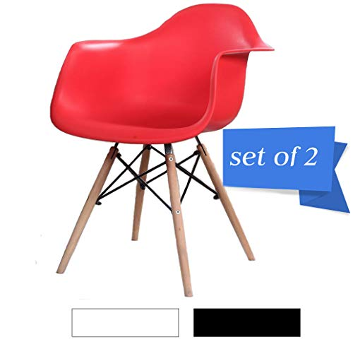 Mid Century Modern Kitchen Table Dining Chairs - Set of 2 Eames Style Armchair, Shell Plastic Lounge Desk/Dining Chair with Arms & Wood Legs, Side Chair for Living Room (Red)...