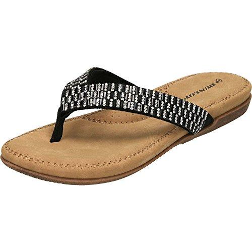 Dunlop 6 Schwarz Lucia Schwarz Sandalen Größe Flache Damen für Damen UK rrPvqwB