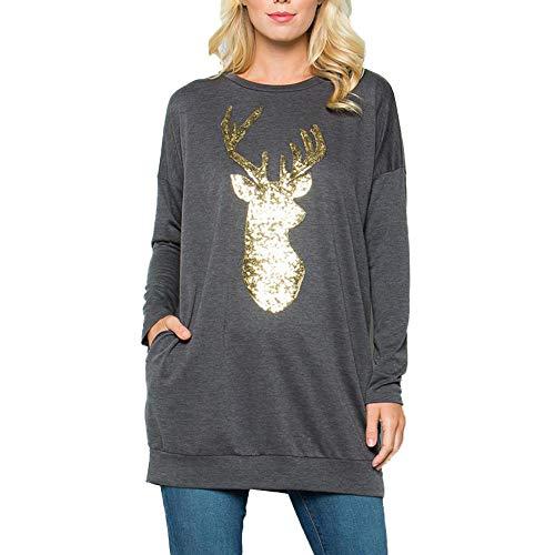 Christmas Shirt for Women Long Sleeve, Seaintheson Womens Casual Long Sleeve Xmas Reindeer Sequin T Shirt Blouse Tops