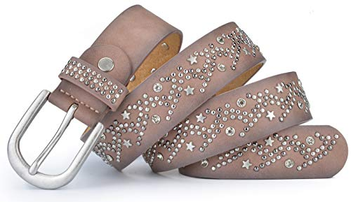 Ayli Women's Punk Rock Star Metal Rivets and Rhinestone Handcrafted Genuine Leather Jean Belt, Free Gift Box, Millennial Pink, Fits Waist 26
