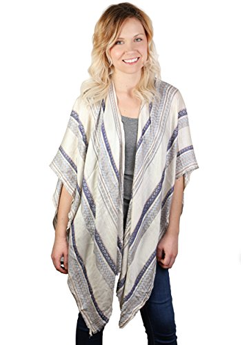 S-744-11 Diamond Stripe Poncho - Blue (Featherweight Long Cardigan)