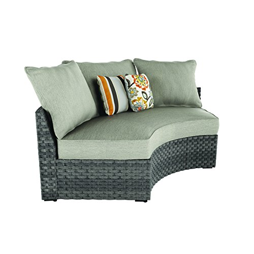 Ashley Furniture Signature Design - Spring Dew Outdoor Curved Corner Chair with Cushion - Gray (Ashley Outdoor Furniture)