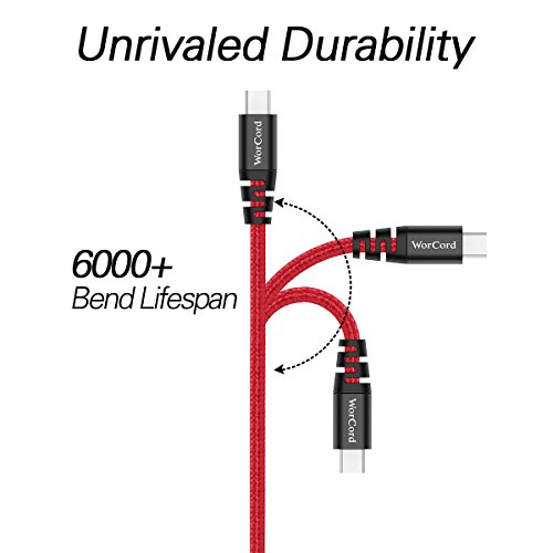 WorCord 2-Pack Micro USB Cable 6 ft/1.8M Data Transfer & Charging Cable Nylon Braided Sync Cable for Alcatel Ideal, Moto G Plus / E, BLU Studio X8 / A6 / A5 / A4, DOOGEE X10 / X5 - Red