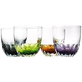 Artland Solor Double Old Fashioned Glasses, Set of 4, Assorted 4 Get the party going with this fun colored bar top glassware Great for serving up almost any double cocktail, like the classic old fashioned, or for sipping some delicious spirits Cosmic colors green, purple, black, and orange which make it easy to remember who's glass is who's during dinner or a night of entertaining