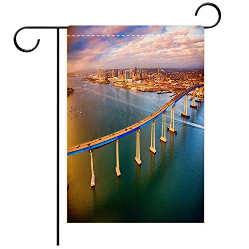 (BEISISS Double Print Garden Flag Outdoor Flag House FlagBannerSan Diego Skyline Beyond The Coronado Bridgedecorated for Outdoor Holiday Gardens)
