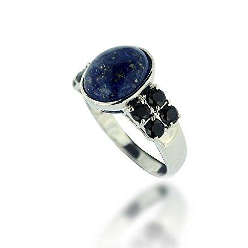 Rhodium Plated 925 Sterling Silver Blue Oval Lapis and Black Spinel Gemstone Ring, Size (Black Spinel Gem)
