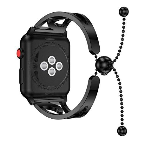Look Cuff Watch - For Apple Watch Series 3 38MM/42MM,Sunfei Fashion Bracelet Replacement Girls WatchBands Strap (Black, 42MM)