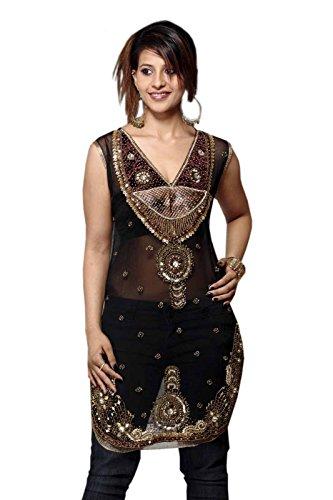 Black Georgette Tunic Full Stone Work Party Dress (s) by Jayayamala