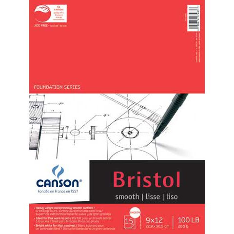 Canson Foundation Series Bristol Paper Pad, Heavyweight Paper for Pencil, Vellum Finish, Fold Over, 100 Pound, 19 x 24 Inch, Bright White, 15 Sheets by Canson