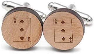 3つクラブのカフスボタン 木製Cufflinks Hand Made 新色 The In 大規模セール  USA