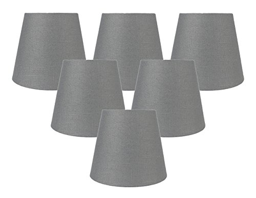 Meriville Set of 6 Graphite Linen Clip On Chandelier Lamp Shades, 4-inch by 6-inch by 5-inch