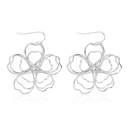 RIAH FASHION Lightweight Bohemian Wired Flower Petal Drop Earrings - Multi Petal Leaf Floral Metallic Hoop Dangles/Sparkly Rhinestone Studs (Cherry Blossom Dangles - Silver)