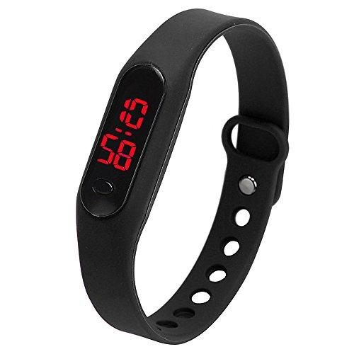 TOOGOO Fashion LED Womens Mens Date Sports Bracelet Watch Rubber Digital Wrist Watches Black