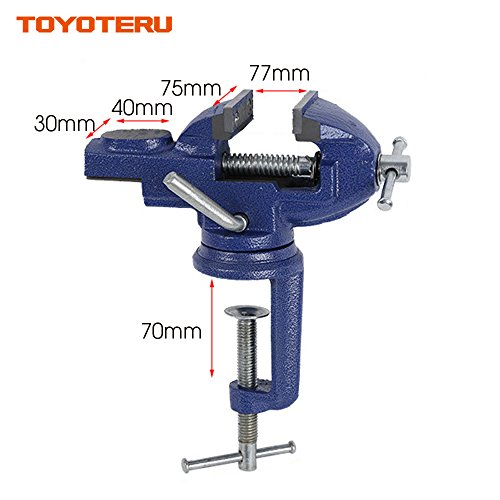 TOYOTERU 3-Inch (75mm) opening 360 degrees universal bench vise table vise home vise Cast Iron with Anvil Worktable by TOYOTERU (Image #1)