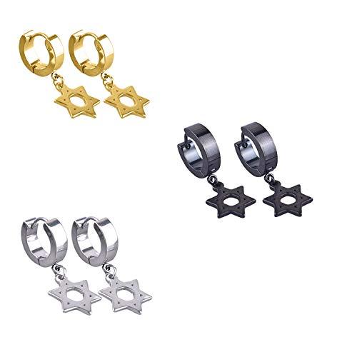 Mens Womens Stainless Steel Cross Dangle Hinged Hoop Huggie Earrings(3 Pairs) (Star earrings) ()