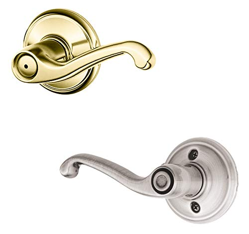 (Schlage F40 FLA 605/619 RH Flair Right Hand Lever, Polished Brass/Satin Nickel)