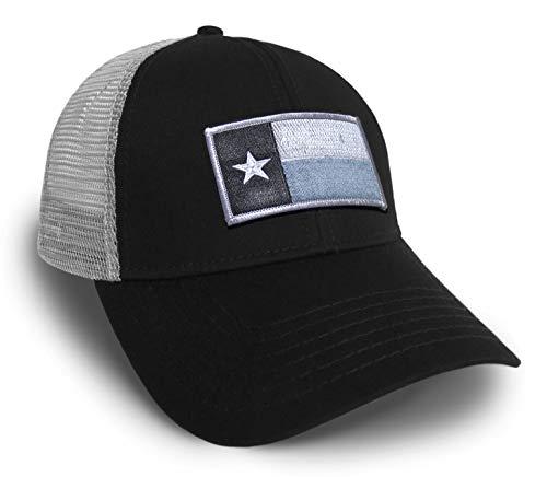 (Strange Cargo Tees Texas Flag Cap Black and Grey Baseball Snap Back Hat)