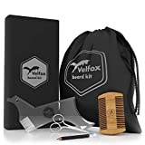 Velfox Beard Grooming,Trimming and Shaping Kit | 5 in 1 Set – Beard Shaper, Beard Bib, Beard Scissors, Beard Comb and LineUp Pencil | Great for GlFT For Sale