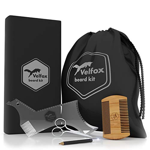 Velfox Beard Grooming,Trimming and Shaping Kit | 5 in 1 Set - Beard Shaper, Beard Bib, Beard Scissors, Beard Comb and LineUp Pencil | Great for GlFT