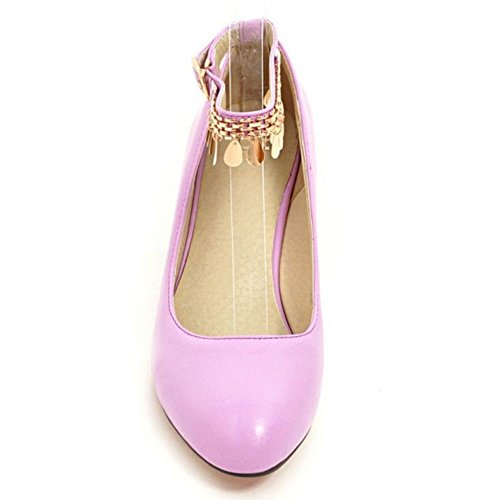 Mid Pumps Party Dress Formal KemeKiss Purple Rivets Fashion Women's Heel Strap Wedge Ankle BCxPRq