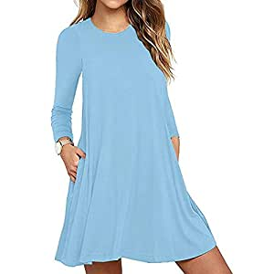 YOKST Women's Solid Color Long Sleeve Big Pendulum Dress Round Neck Elastic Waist Elegant Party Gown Jersey Fabric Solid Cocktail Sexy Casual Maxi Dress for Tourism Leisure Shopping