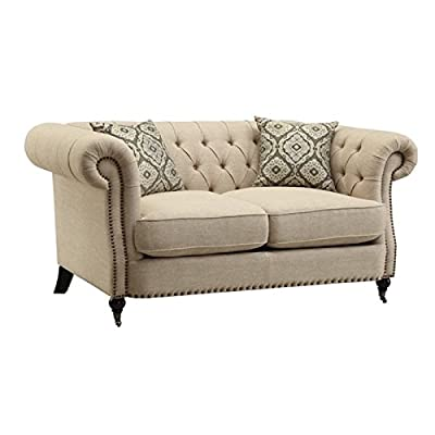 Bowery Hill Button Tufted Loveseat in Oatmeal