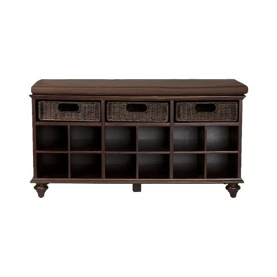 """Southern Enterprises Corina Entry Bench - Espresso - 38"""" W x 16.25"""" D x 21.75"""" H Hardwoods, MDF, maple veneer, rattan, foam Supports up to: 250 lb. - entryway-furniture-decor, entryway-laundry-room, benches - 411d5aIZIjL. SS570  -"""