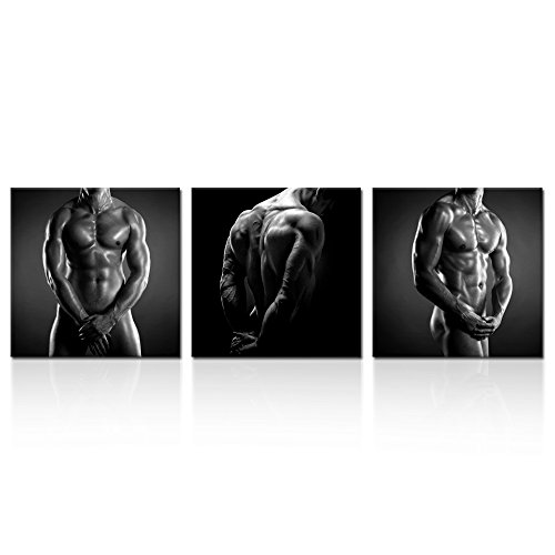 Kreative Arts - The Naked Man Male Sexy Gay Canvas Prints Body Art Muscular Fitness Coach Picture Gym Poster Portrait Painting for Home Bedroom Wall Art Decoration (20x20inchx3pcs)