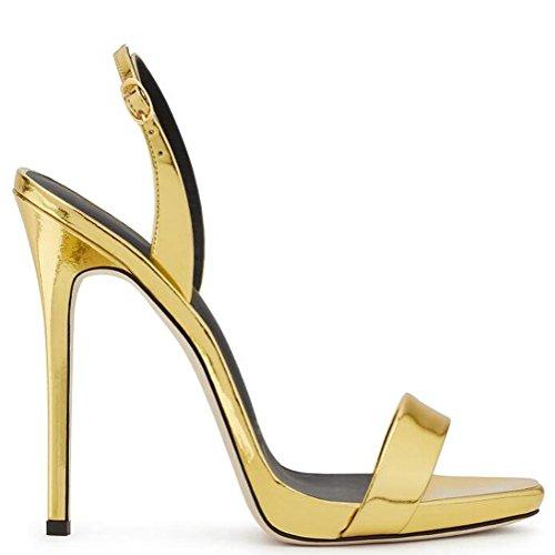 L@YC Weibliche High Heels Plattform Damen Knöchel Gürtel Ball Partei Sandalen Größe Gold