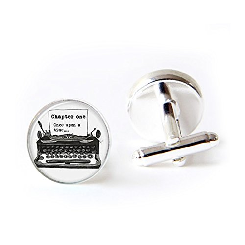 JEANCZ Jewelry Stainless Cufflinks Old Typewriter Vintage Writer Pendant Glass Classic Tuxedo Shirt Cufflinks with Elegant Storage Display Box by JEANCZ