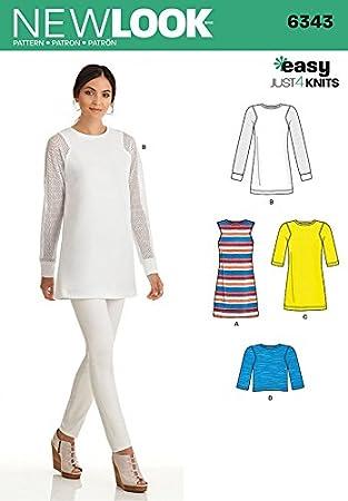 New Look Damen Schnittmuster 6343 Jersey Knit Tops und Kleider ...