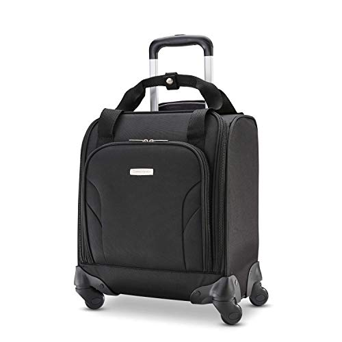 (Samsonite Underseat Spinner with USB Port, Jet Black)