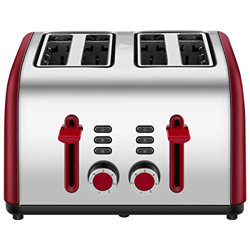 Toaster 4 Slice, Chitomax 4 Wide Slots Stainless Steel Toasters with Reheat Defrost Cancel Function, 7-Shade Setting, Red