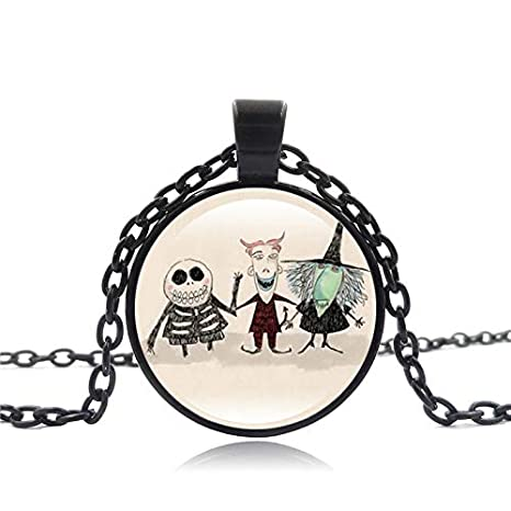 Davitu The Nightmare Before Christmas Jewelry Necklace with Silver//Bronze Plated Glass Cabochon Choker Long Pendant Necklace for Women Metal Color: Silver