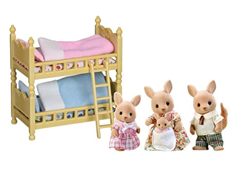 Maven Gifts: Calico Critters of Cloverleaf Corners Bundle – Hopper Kangaroo Family Set with Bunk Beds Furniture Set – Build Skills with Imaginative Play