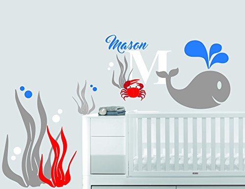 Custom Name & Initial Magical Sea Word Blue Whale Crab - Nautical Theme - Baby Boy - Wall Decal Nursery For Home Bedroom Children (533) (Wide 40