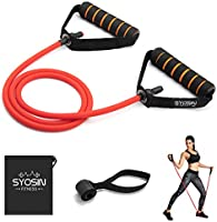 SYOSIN Professional Single Resistance Exercise Band, Non-Slip and Comfortable Handles with Door Anchor, Physical Therapy,...