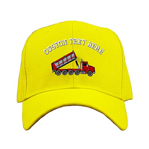 Custom Text Embroidered 4 Axle Dump Truck Unisex Adult Hook & Loop Acrylic Adjustable Structured Baseball Hat Cap - Yellow, One Size