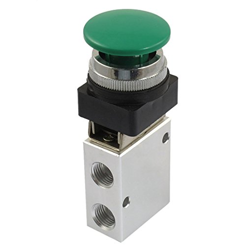 URBEST 13mm Thread 2 Position 3 Way Manual Control Mushroom Push Button Air Pneumatic Mechanical (Manual Pneumatic Valves)