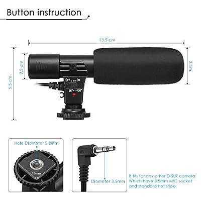 EIVOTOR Camera Microphone, Mic-01 3.5mm Digital Video Recording Microphone for D-SLR Camera, Black