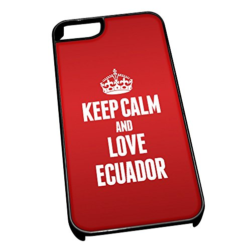 Nero cover per iPhone 5/5S 2184 Red Keep Calm and Love Ecuador