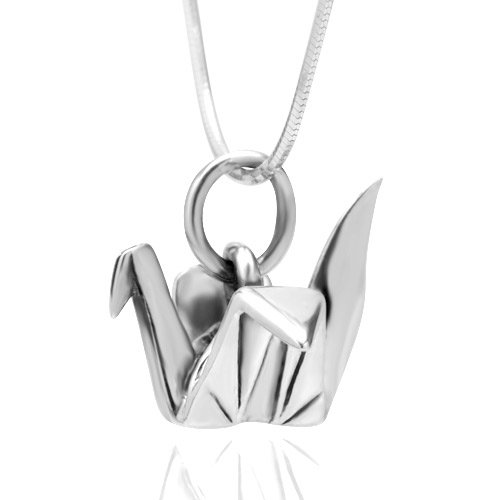 Chuvora 925 Sterling Silver Origami Bird Paper Crane Flapping Bird Pendant Necklace, 18 (Silver Origami)