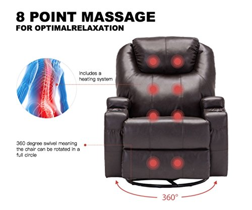 Massage Recliner Sofa Chair Ergonomic Deluxe Lounge Swivel Heated W/Control in - Mall Duluth Outlet